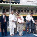 Navin Pattanaik giving shield to Mr. Amiya Bhusan Biswal, Republic Day function